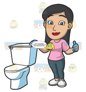 A Woman Proudly Showing The Toilet That She Fixed
