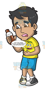 A Constipated Man Holding A Bottle Of Olive Oil