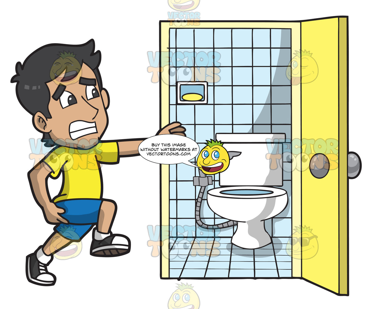 A Man Running To The Toilet To Poo Clipart Cartoons By
