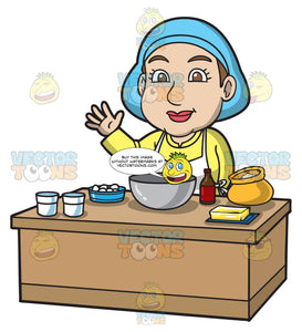 A Woman Preparing To Bake A Cake