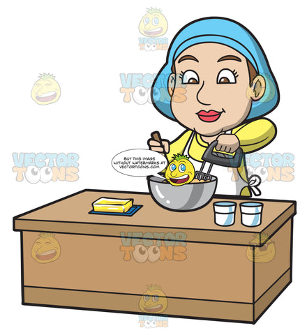 A Woman Mixing The Cake Batter