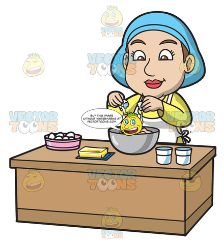 A Woman Adding Eggs Into The Cake Mix