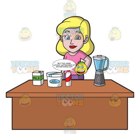 A Woman Preparing The Ingredients To Make A Milkshake