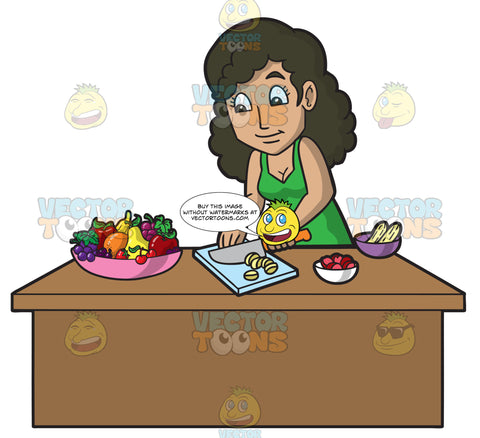 A Woman Chopping Fruit To Make A Smoothie