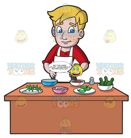 A Man Preparing The Ingredients To Make Guacamole