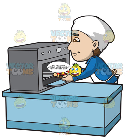 A Man Placing Pizza Into The Oven