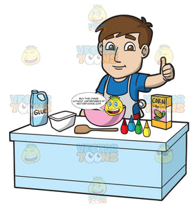 A Man Preparing To Make Slime