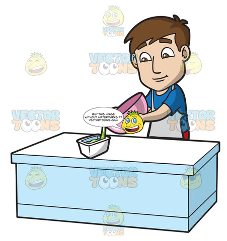 A Man Transferring Slime In A Container