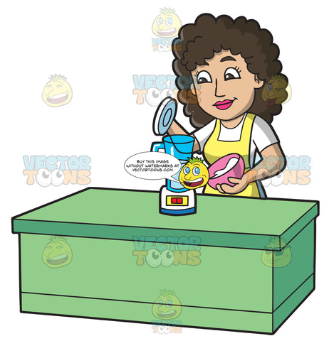 A Woman Placing All Soap Ingredients In A Blender