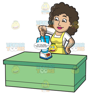 A Woman Stirring The Soap In The Blender