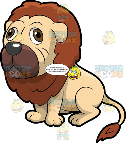 Half Dog Half Lion. A hybrid animal with a half dog and half lion body, brown thick mane and tail, brown muzzle, looking blank while sitting on the floor