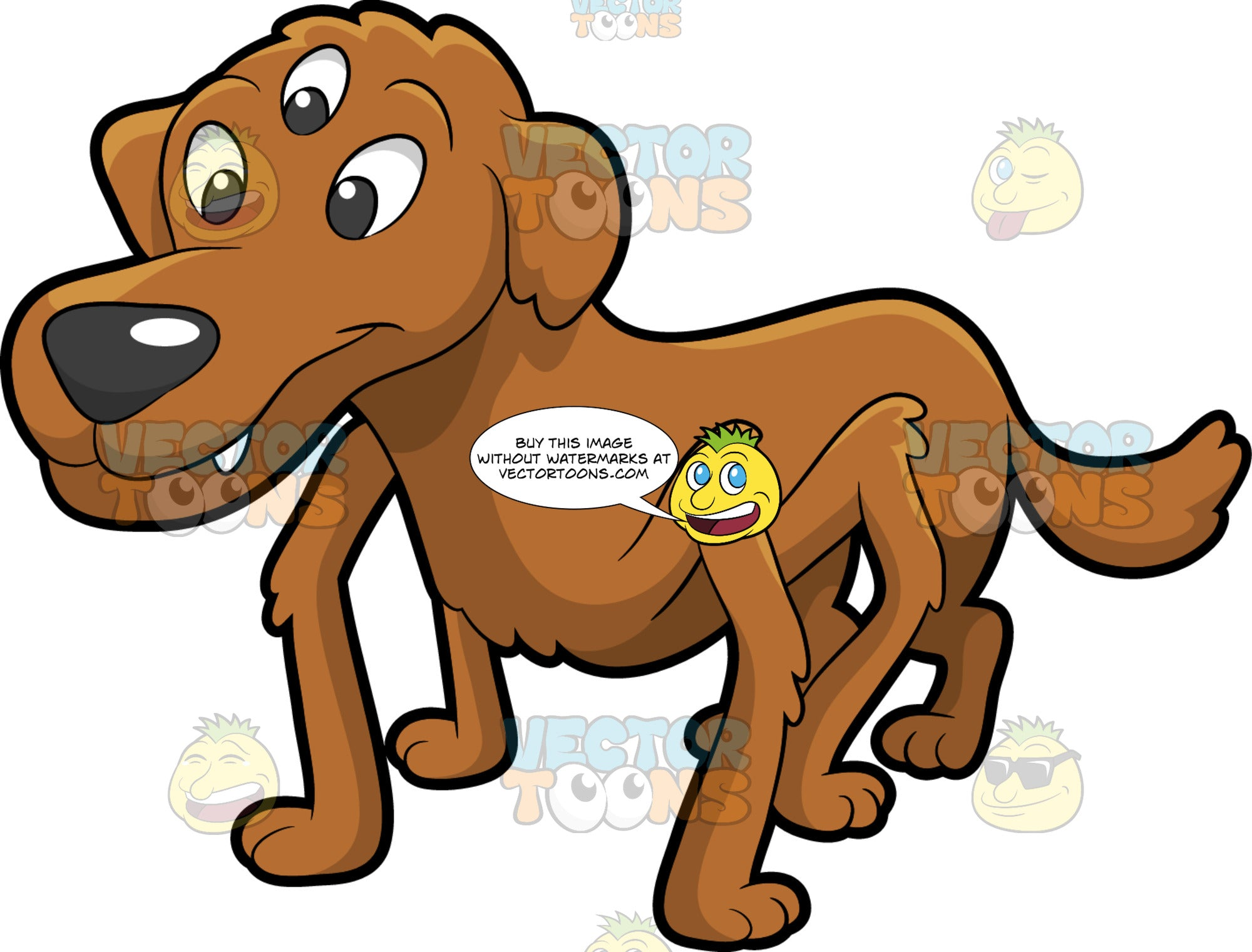 Half Dog Half Spider. A hybrid animal with a half dog, half spider body with a brown coat, three eyes, and eight legs