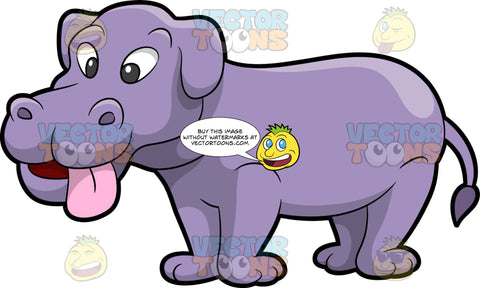 Half Dog Half Hippopotamus. A hybrid animal with a half dog, half hippopotamus body, purple skin, drooping ears, pink tongue, smiles while looking cute and nice