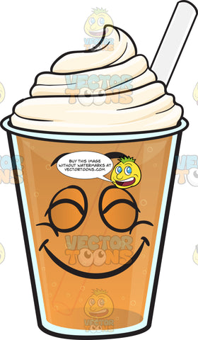 Pleasantly Contented Frappe Emoji