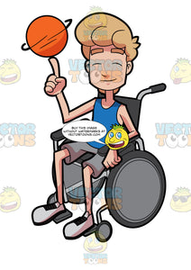 A Male Basketball Athlete Spins A Ball While In His Wheelchair