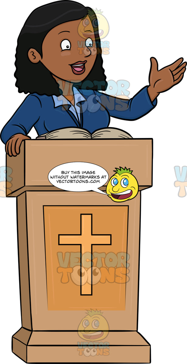 A Black Female Preacher Telling The Good News – Clipart ...
