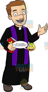 A Happy Priest Greeting Everyone A Warm Welcome