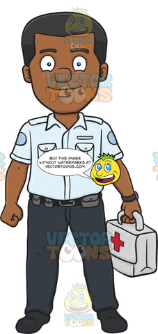 A Happy Dark Haired Male Ambulance Worker Carrying A First Aid Kit