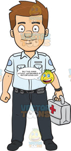 A Happy Male Ambulance Worker Carrying A First Aid Kit