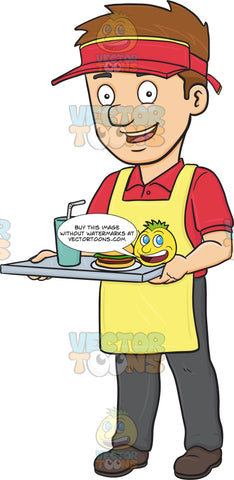 A Friendly Food Server Carrying A Tray With Hamburger And Drink