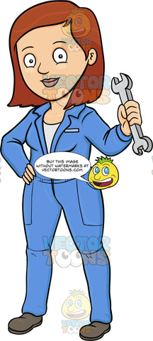 A Lady Plumber Holding A Wrench