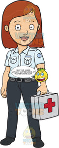 A Lady Ambulance Professional Carrying A First Aid Kit