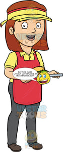 A Lady Food Server Holding A Tray With Burger
