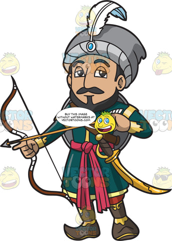An Indian Warrior King With A Bow And Arrow