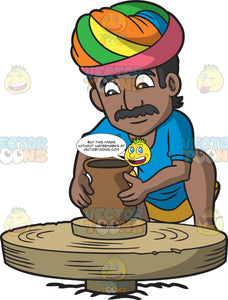 An Indian Merchant Creating Pots