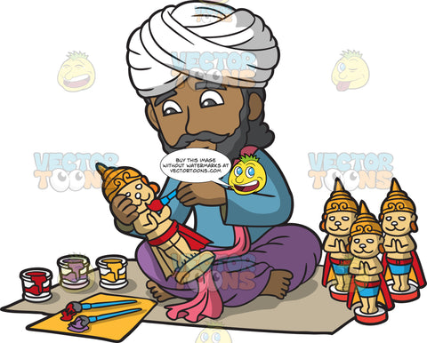 An Indian Merchant Painting Traditional Figurines