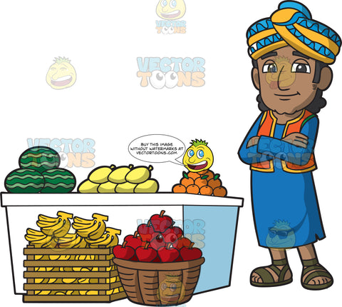 An Indian Merchant Selling Fresh Fruits