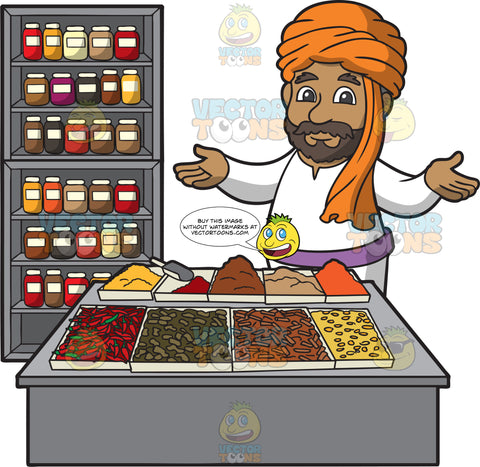 An Indian Merchant Selling Spices