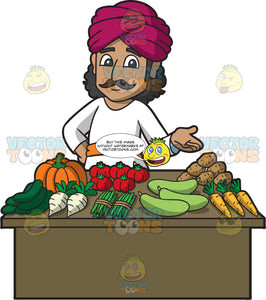 A Friendly Indian Merchant Selling Vegetables