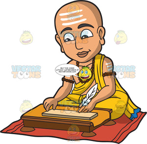 A Young Bhramin Writing A Form Of Scripture