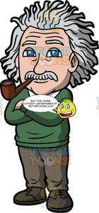 Albert Einstein Smoking A Pipe. An older man with wild gray hair, and a gray mustache, wearing brown pants, brown shoes, and a green sweater, standing with his arms folded, and smoking a brown pipe