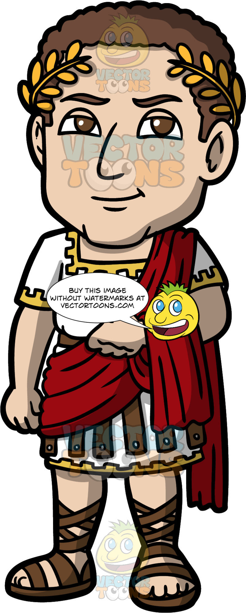 Julius Caesar. A man with a golden wreath in his brown hair, wearing traditional Roman tunic in white and yellow and brown leather, a red toga over one shoulder, and brown leather sandals