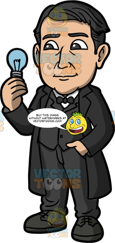 Thomas Edison Holding A Light Bulb. A man with black hair, wearing a black suit, black shoes, a black overcoat, and black bow tie, holding a light bulb in his hand