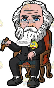 Karl Marx Sitting In A Chair. A man with white hair and bear, wearing a black suit, sitting in a chair and holding a cigar