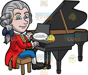 Wolfgang Amadeus Mozart Sitting At A Piano. A man wearing a gray wig, blue pants, a long red coat, hose, and black shoes, sitting a grand piano