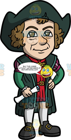 Christopher Columbus Standing With A Rolled Up Map In His Hand. A man with brown hair, wearing breeches, a doublet, stockings, shoes, a dark green cloak and hat, standing and holding a rolled up map
