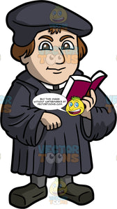 Martin Luther Reading A Book. A man with brown hair wearing a black academic robe, and doctoral cap, standing and holding a book