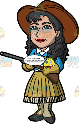 Annie Oakley Holding A Shotgun. A woman with long brown hair, wearing a skirt, a blue western blouse with medals, leather gloves, boots, and a brown gambler hat, standing and holding a shotgun in her hands