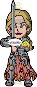 Joan Of Arc Ready For Battle. A woman with dirty blonde hair, wearing a suit of armor and a pink with yellow skirt, standing and holding up a sword