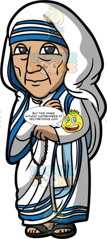 Saint Mother Teresa. An elderly woman wearing a simple white sari with three blue stripes on the borders, and a blue and white headscarf, standing and holding a rosary in her hand