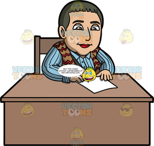 Gertrude Stein Sitting At A Desk Writing. A woman with short gray hair, wearing a blue striped shirt, and  a brown with red vest, sitting behind a desk and writing on a piece of paper