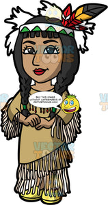 Pocahontas. A beautiful Native American woman, wearing a deer skin dress, and head dress with feathers, standing with her hands in front of her