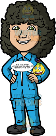 Astronaut Sally Ride. A woman with curly black hair, wearing a blue NASA flight suit, standing with her hands on her hips and smiling