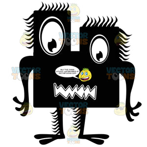 Big-Eyed Rectangle Square Black Ink Monster With Hair