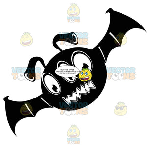 Three-Eyed, Round Bat Creature Black Ink Monster With Bat Wings, Flying