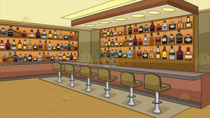 Inside A Bar Stocked With Bottles Of Alcohol Background